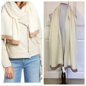 NWT! Cashmere Halogen Cable Knit Cashmere Scarf,